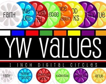 Young Women Values, Digital Collage Sheet, 1 Inch Round Circles, Flower