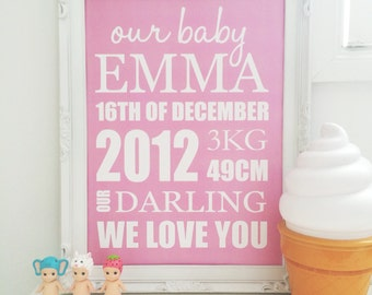Print by Honey and Fizz - Our Baby - printed on matt 200gsm paper. Various colours available