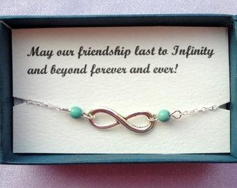 Friendship gift, Infinity bracelet, Silver infinity turquoise bracelet, Bridesmaids gifts, Silver bracelet, Infinity jewelry