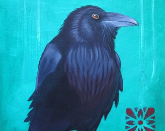 BLUE RAVEN -  raven, crow, native american, indian, corvid, love