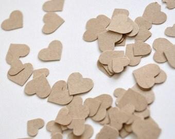 Kraft mini heart confetti, party confetti, shower confetti, wedding confetti- 300 pieces