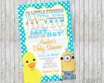 rubber duck minion inspired baby shower invitation 4x6