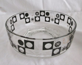 Great Vintage Serving Bowl Retro Style Clear Glass Black and Gold Accents