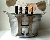 Rustic Monogram Champagne Tub- Christmas Gift- Galvanized Bucket