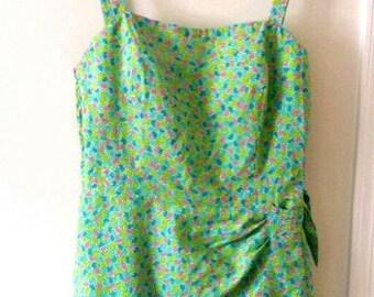 Free Ship / Jelly Bean 70s Vintage Gabar Swimsuit Pin Up Romper Playsuit  Bombshell Green Floral Polkadot