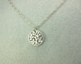 Necklace sterling silver round tree of life pendant-Sterling silver necklace