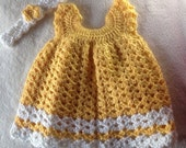 crochet baby dress with headband - CrochetByTheHart