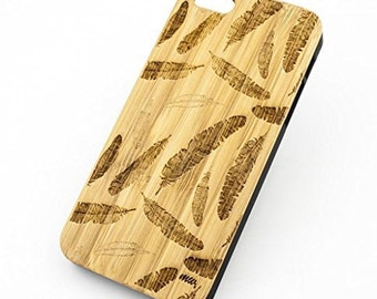 Bamboo Wood Case Cover for Apple iPhone 5/5S Feather Elephant