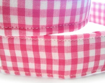 Pink Gingham- Dog Collar