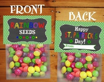 Chalkboard St Patricks Day Rainbow Seeds Treat Bag Toppers - Holiday Favor Labels - INSTANT DOWNLOAD - Party Digital pdf file