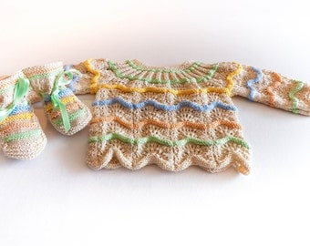 Jerseiet and baby shoes _ Jerseicito y patucos _ Baby Baby sweater and booties