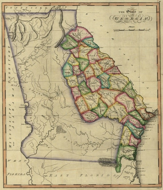 State Map Of Georgia 1810 By HistoricPerspectives On Etsy