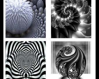 Black And White Fractals - Digital Fractals - Digital Downloads - Collage Sheets - Fractal Designs - Scrabble Fractals - Scrabble - DDP448