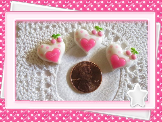 0: )- CABOCHON -(Hot Pink White Heart Cherry Love