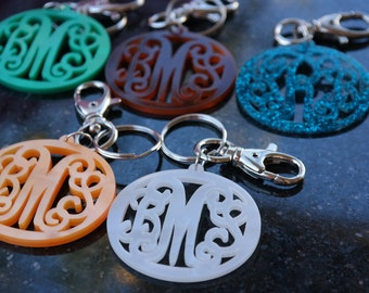 Zipper Pull Purse Charm, Keychain, Monogram Gift, Bridesmaid Gift, Mother's Day Gift, Birthday Gift