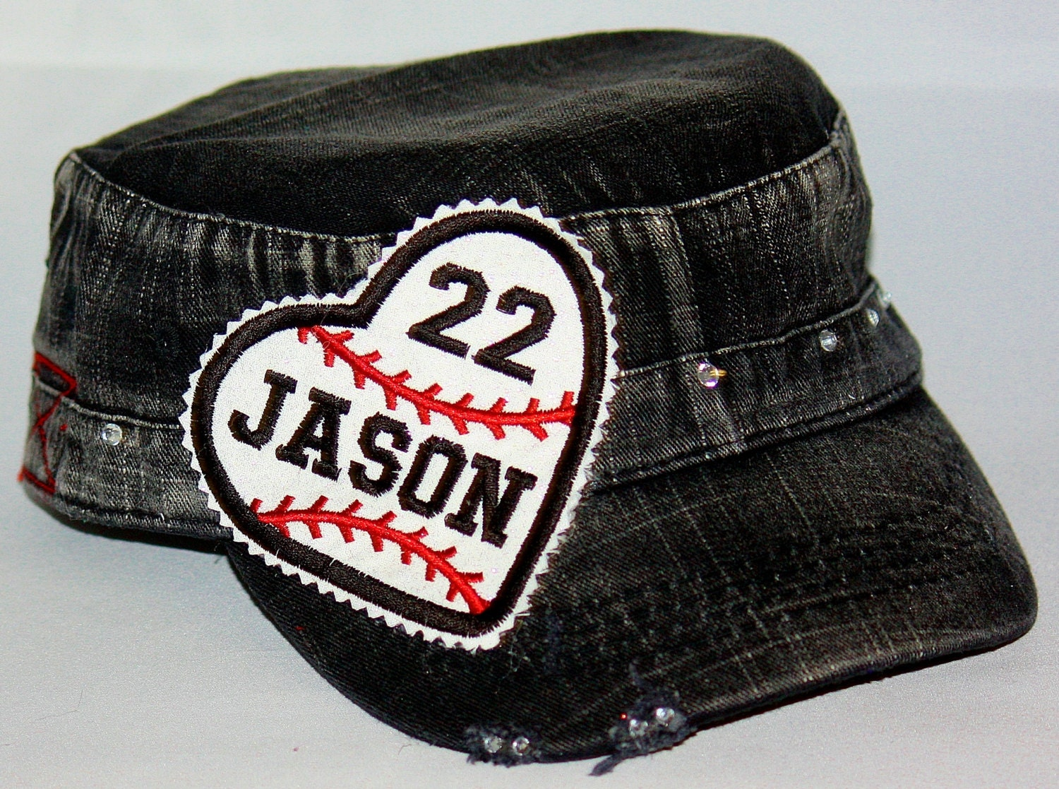 custom baseball hat embroidered applique with rhinestones on