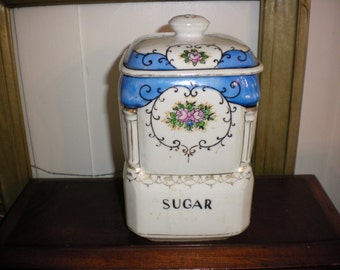 Blue and White Sugar Canister