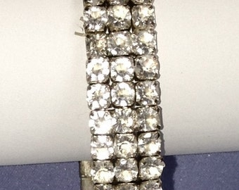 Lovely 3 Row Clear Rhinestone Stretch Bracelet