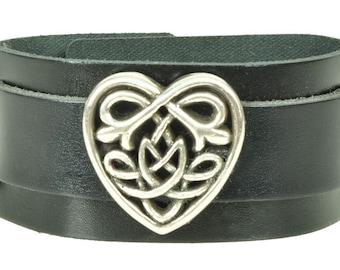 """Lederarmband """"CELTIC HEART"""", Leder, leather, Armband, bracelet, black, Herz, heart, Niete, rivet, Silber, silver, keltisch"""