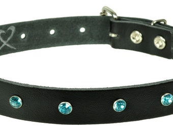 "Leather collar ""strass"""