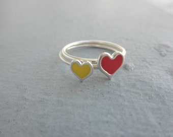 sterling silver heart ring with enamel