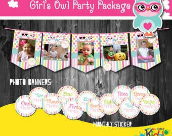 INSTANT DOWNLOAD. Girl's Owl Photo Banner with Monthly Stickers,  First Birthday Photo Banners, 1st birthday, Printable Monthly stickers