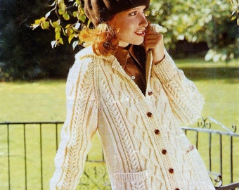 Ladies  Aran / Fishermans knit Cardigan in 10ply  worsted 34 - 40 ins -  PDF of  Vintage Knitting Pattern Instant Download