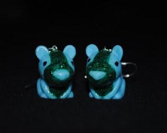 Blue Glitter Hamster Earrings