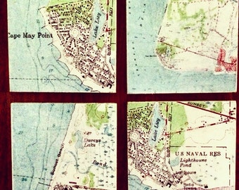 Cape May New Jersey Map Coaster Set - Free Shipping!