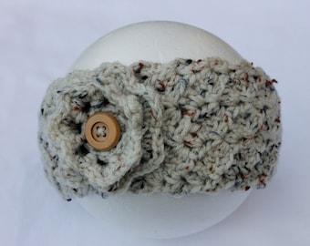 CLEARANCE, Oatmeal Crochet Headband Earwarmer with Flower, Crocheted Headband Earwarmer, Winter Earwarmer, Women's Crochet Headband