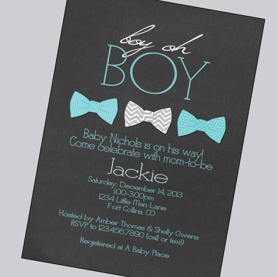 bow tie baby boy shower invitations gray aqua little man little