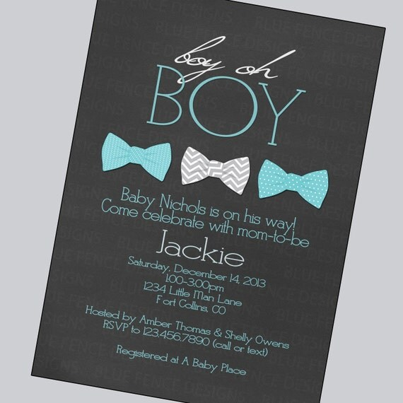 bow tie baby boy shower invitations gray aqua by