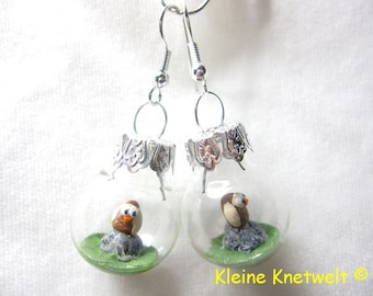 Owl earring fashion jewelry glass ball ornament