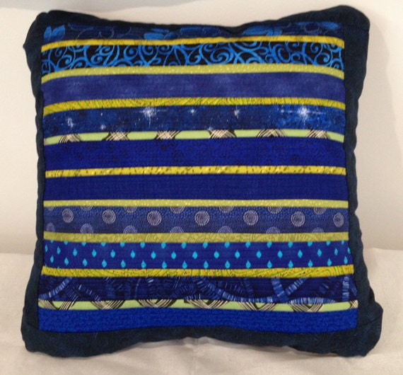Quilted pillow. Pieced accent pillow. Blue throw by AnnBrauer