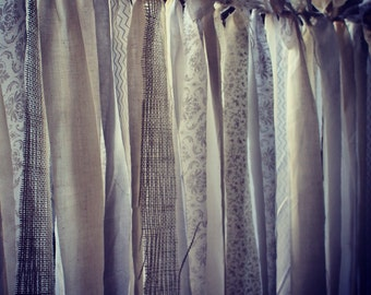 Fabric Backdrop - Photo Booth Backdrop - Fabric Banner - Fabric Garland - Ragtag Backdrop - 3' x 4' - Other Sizes Available