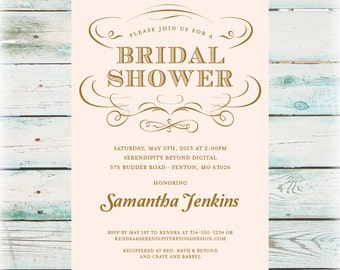 Elegant Bridal Shower Invitation - DIY Digital File