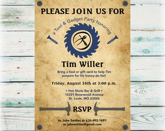Man Tool Shower Invitation - DIY Digital File