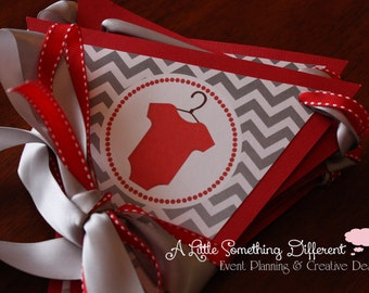 Baby Day! Red and Gray Chevron Baby Shower Banner