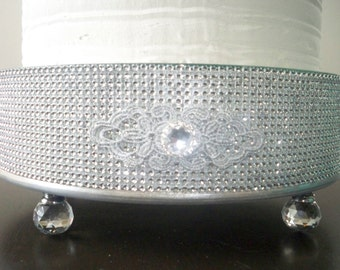 Gorgeous Round 12in, 14in, 16in, 18in or 20in  Round Bling Cake Stand with Glass Feet and Decorative Appliques