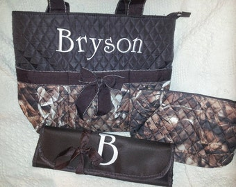 Personalized 3 Piece Camo Quilted Diaper Bag with Changing Pad And Accessory Bag, Baby Shower Gift, Camouflage Diaper Bag, Camo Baby