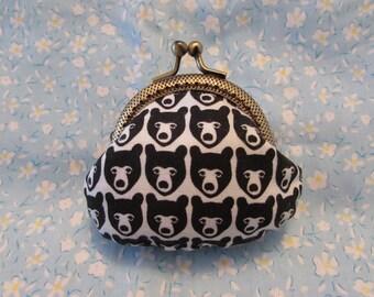 Handmade Black Bear Print Kiss Lock Coin Purse Coins Bag Small Pouch (6.5cm)