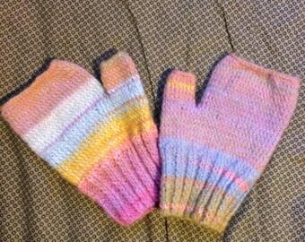 Pastel Rainbow Hand Knitted Fingerless Gloves