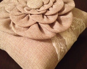 SALE-LAST ONE!  Rustic Burlap & Lace Wedding Ring Bearer Pillow