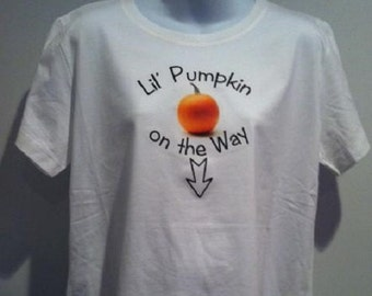 Lil Pumpkin maternity tee shirt THANKSGIVING pregnant expected mom custom shirt / top / expecting mother / pregnant / belly