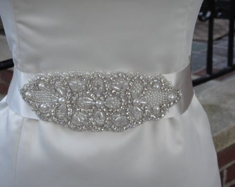 Beautiful Crystal and Pearl Bridal Belt, Sash.