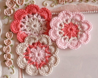 3 crochet flowers applique CH-041-06