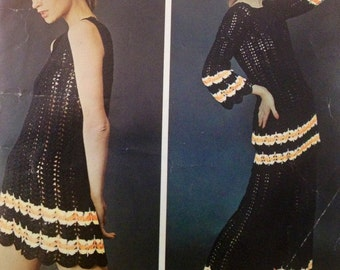 vintage crochet pattern for womens boho dress tunic and flared trouser set couture crochet 1970s