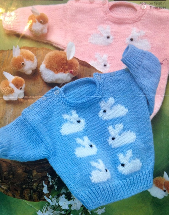 Rabbit Sweater Knitting Pattern : Baby knitting pattern cute bunny rabbit jumpers in size