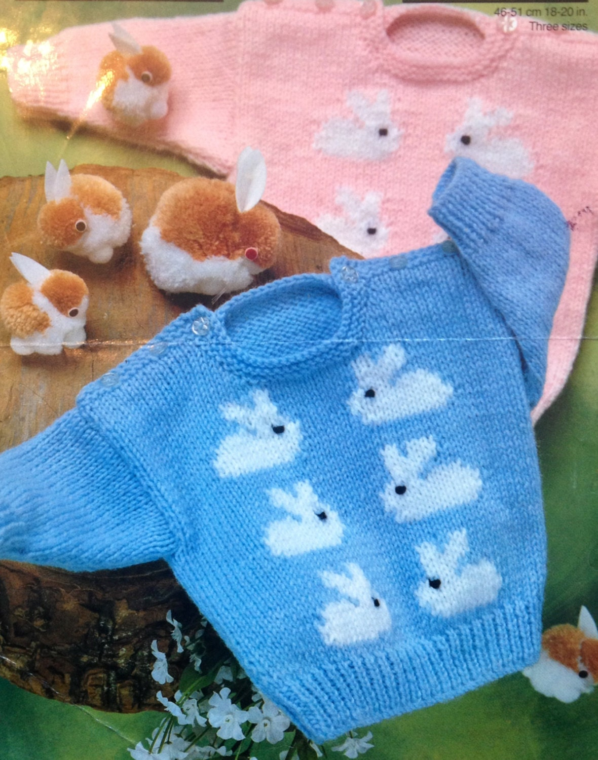 Bunny Rabbit Knitting Pattern : baby knitting pattern cute bunny rabbit jumpers in size 18-20
