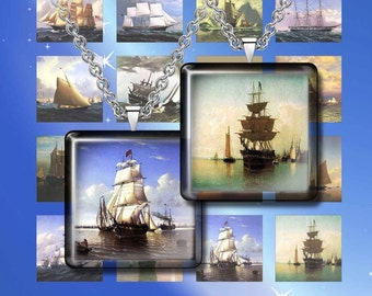 SHIPS -Digital Collage Sheet – 1 inch and 1.5 inches sizes – Printable Download for Pendants, Earrings, Charms